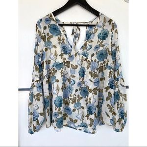 NEW Mossimo Supply Co. Floral Blue Peasant Blouse